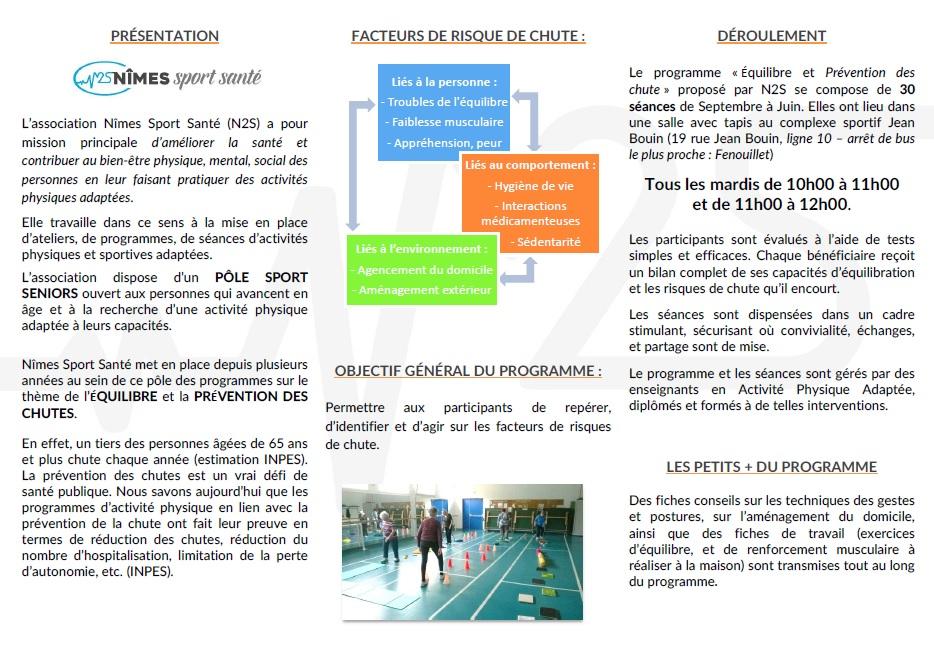 DEPLIANT PROGRAMME LONG EQUILIBRE ET PREVENTION CHUTE Page 2